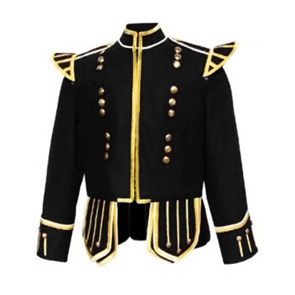 Black Doublet Blazer Wool With Gold Braid White Piping - House Of Scotland