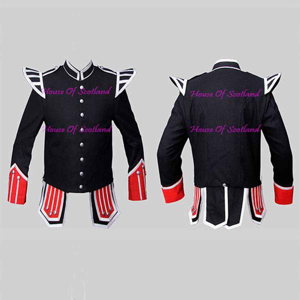 Black Military Doublet Blazer Wool Red Cuffs And Flaps Silver Braid - House Of Scotland