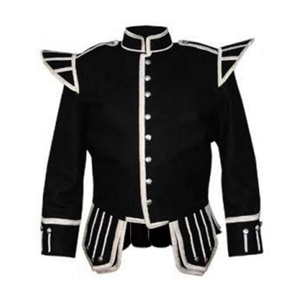 Black Doublet Blazer Wool With Silver Braid And Trim