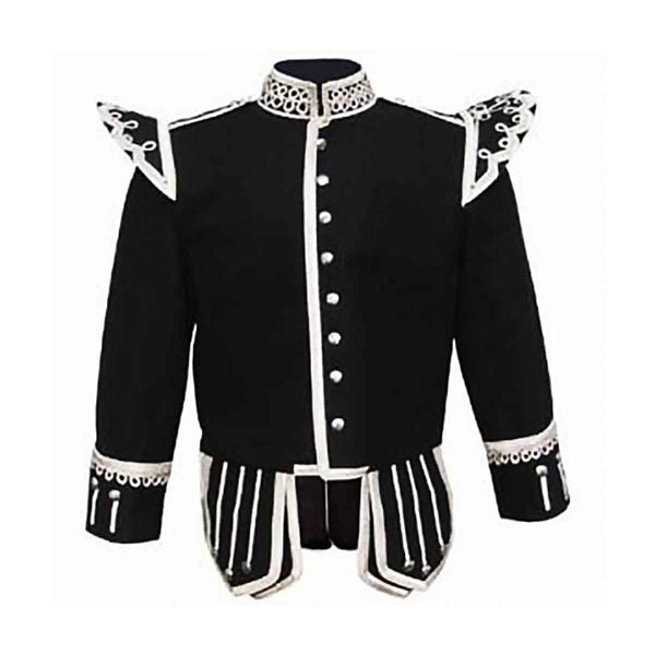 Fancy Black Doublet With Silver Braid And White Piping - House Of Scotland