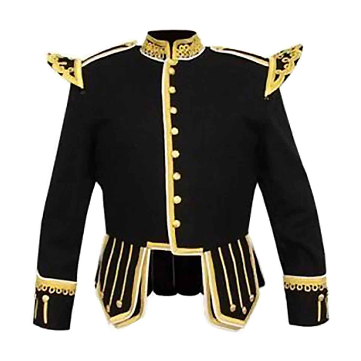 Black Doublet Fancy With Gold Braid And White Piping