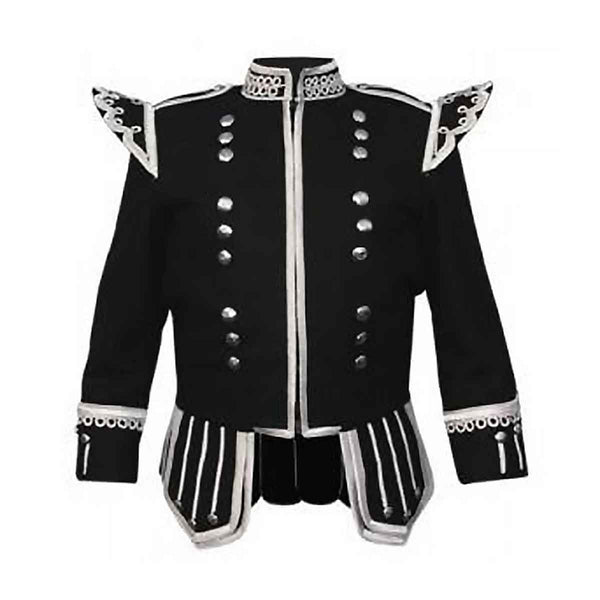 Black Doublet Fancy With Silver Braid And White Piping - House Of Scotland