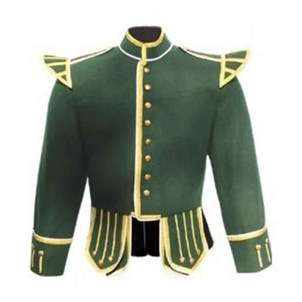 Forest Green Doublet Blazer Wool Gold Braid And White Piping