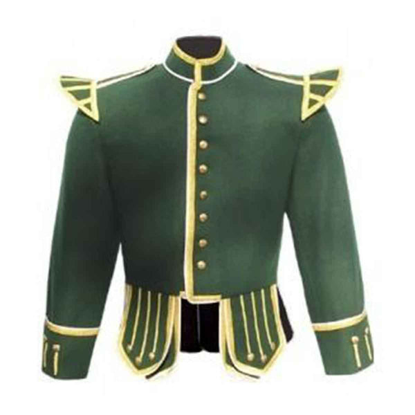 Forest Green Doublet Blazer Wool Gold Braid And White Piping - House Of Scotland