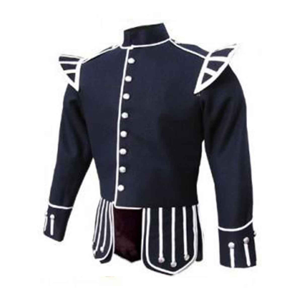 Navy Blue Doublet Blazer Wool White Piping