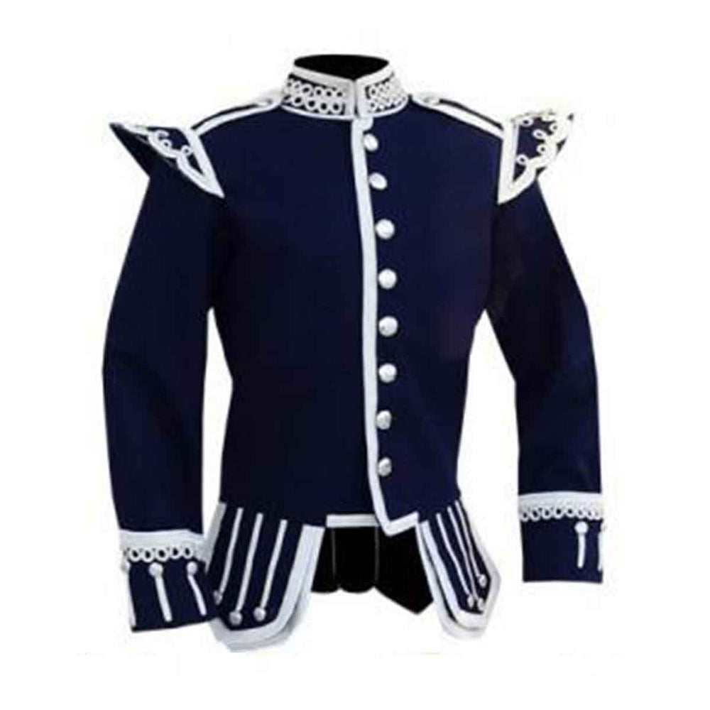 Navy Blue Doublet Blazer Wool Silver Braid White Piping