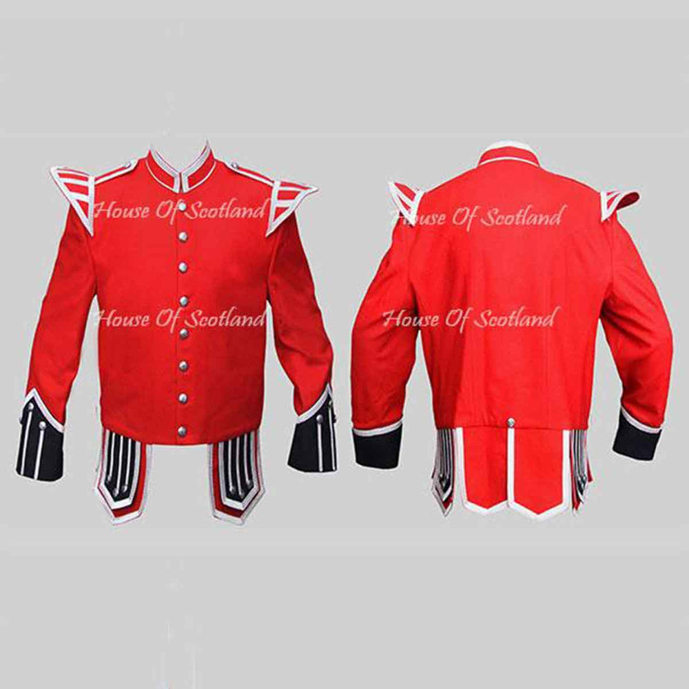Red Military Doublet Blazer Wool Black Cuffs And Flaps Silver Braid