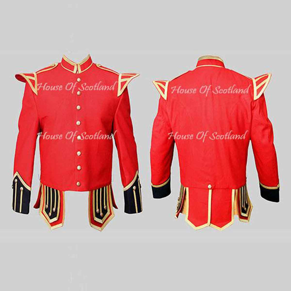 Red Military Doublet Blazer Wool Black Cuffs And Flaps Gold Braid