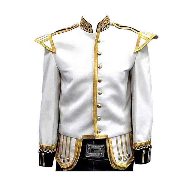 White Doublet Fancy With Gold Braid And Trim - House Of Scotland