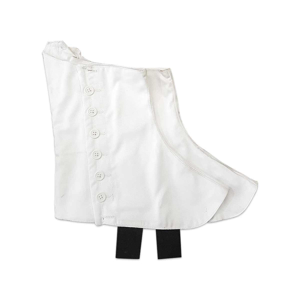 Piper And Drummer White Heavy Cotton Spats With White Buttons