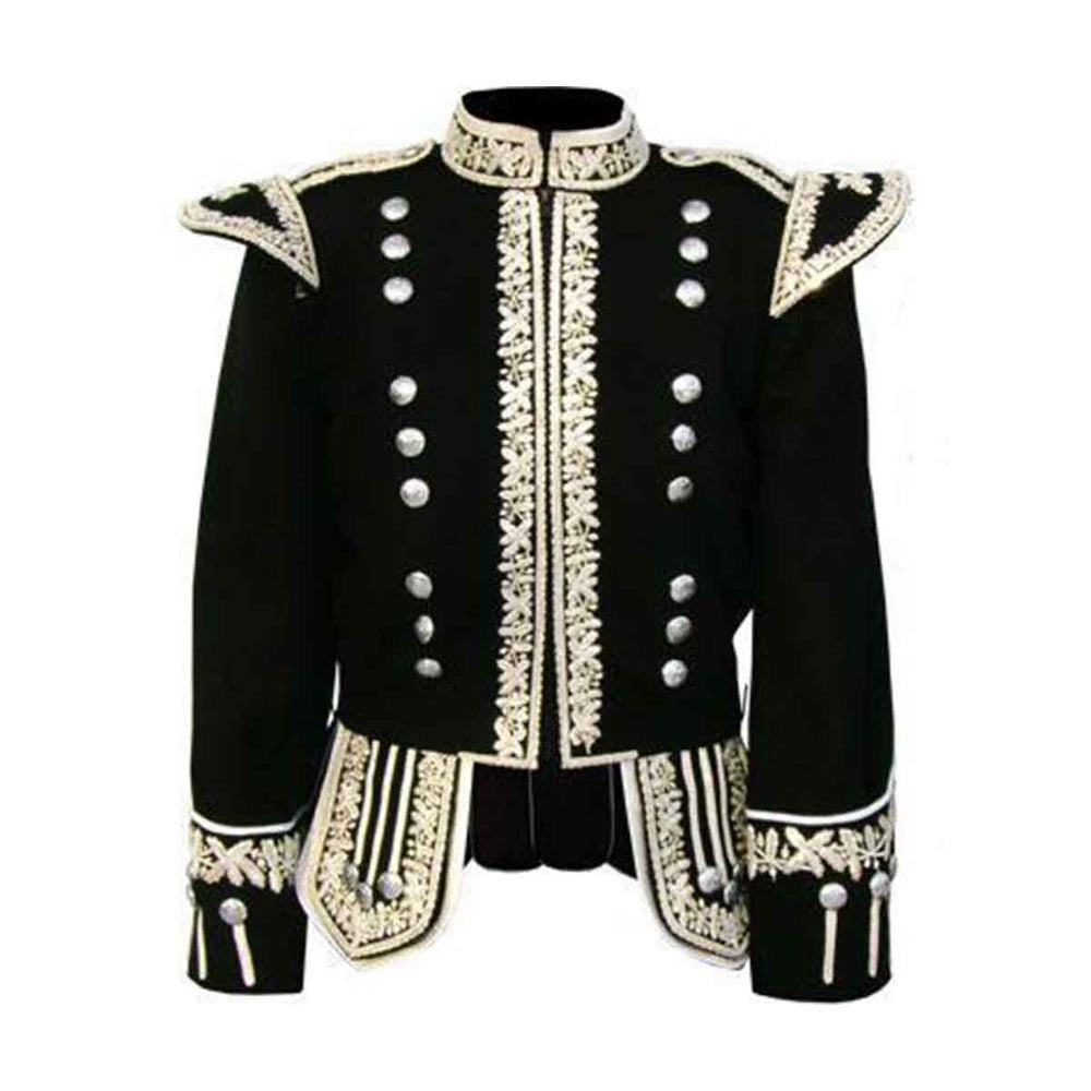 Machine Embroidered Piper or Drummer Doublet Silver Bullion