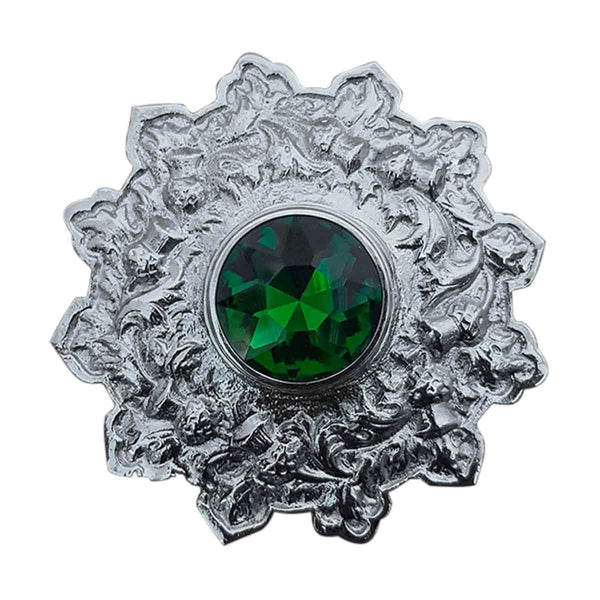 Plaid Brooch Green Stone Star Style - House Of Scotland