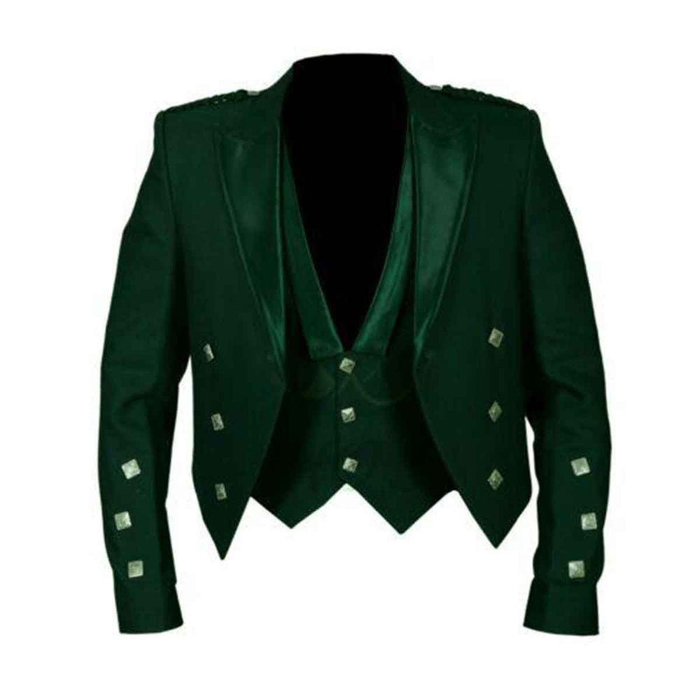 Prince Charlie Jacket With Vest Green Color