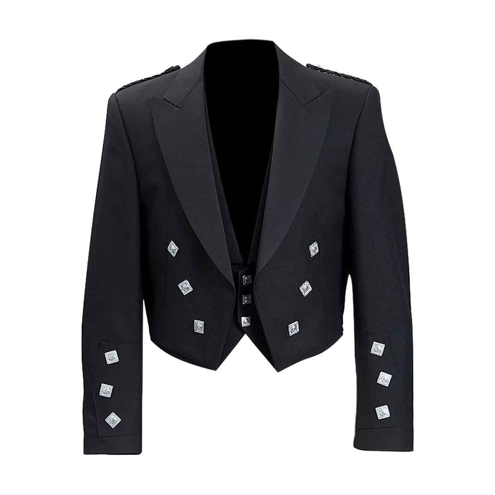 Prince Charlie Jacket With Vest Black Color