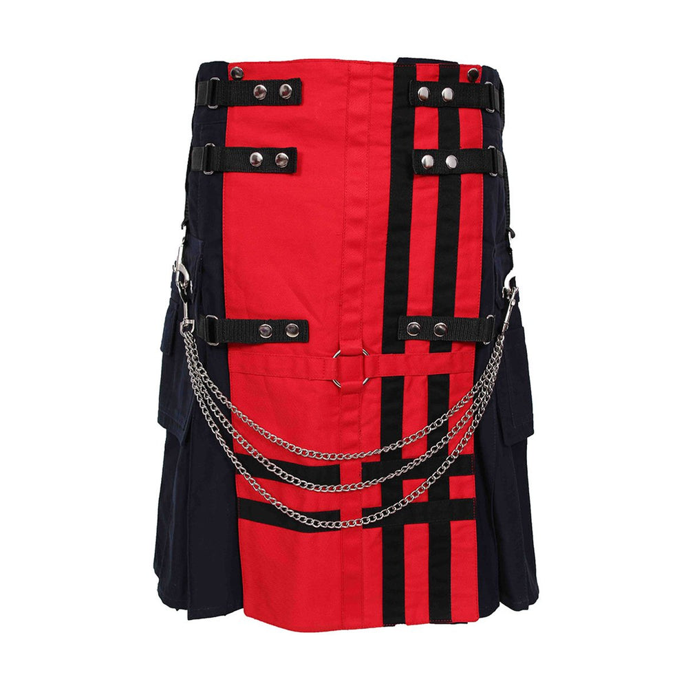 Red And Navy Deluxe Utility Kilt With Chain