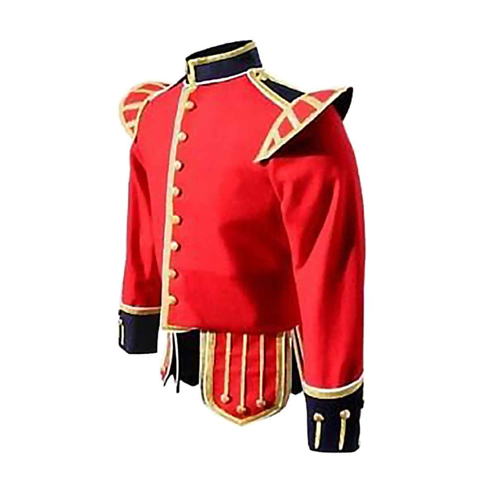 Red Doublet With Gold Braid White Piping Black Cuffs And Collar