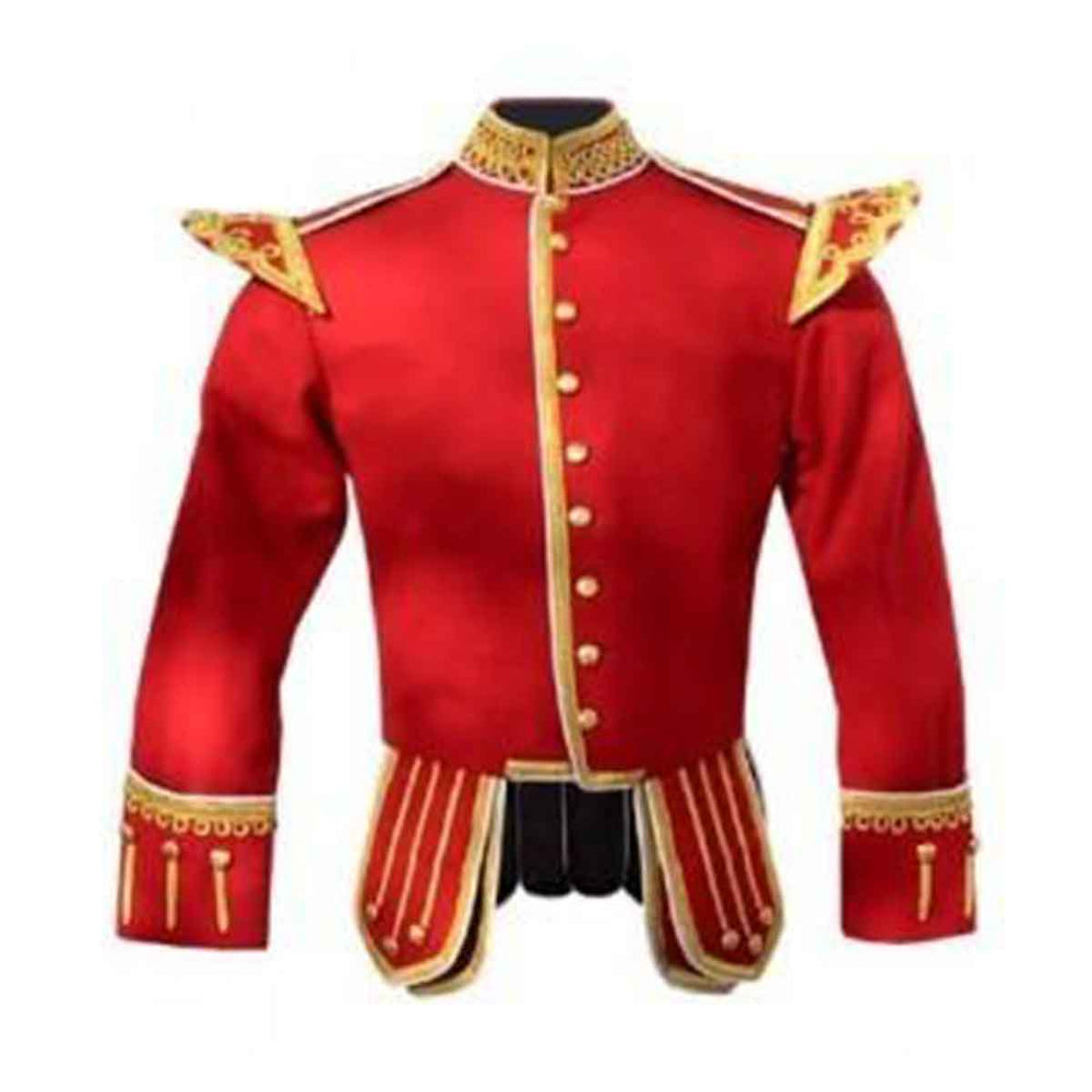 Red Doublet Fancy Blazer Wool Gold Braid And White Trim