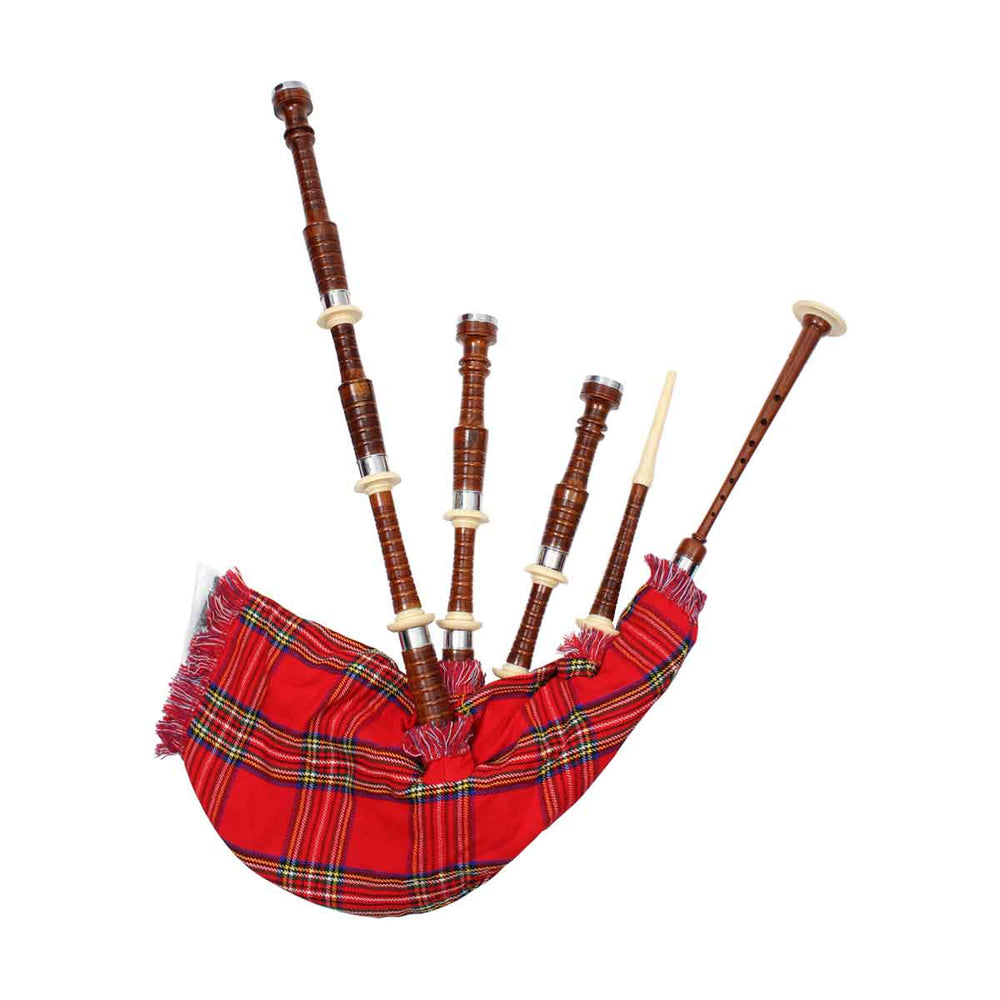 Rosewood Highland Bagpipe Natural Finish Combed And Beaded