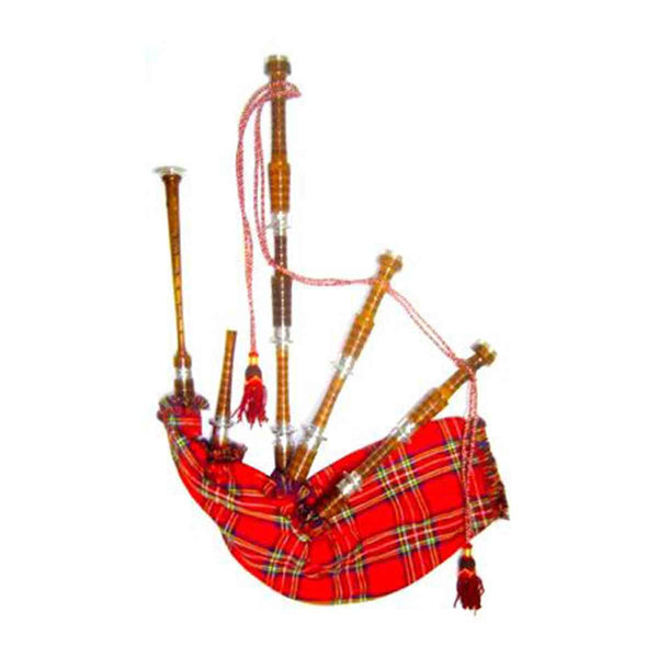 Rosewood Highland Bagpipe Natural Finish Fully Thistle Engraved - House Of Scotland