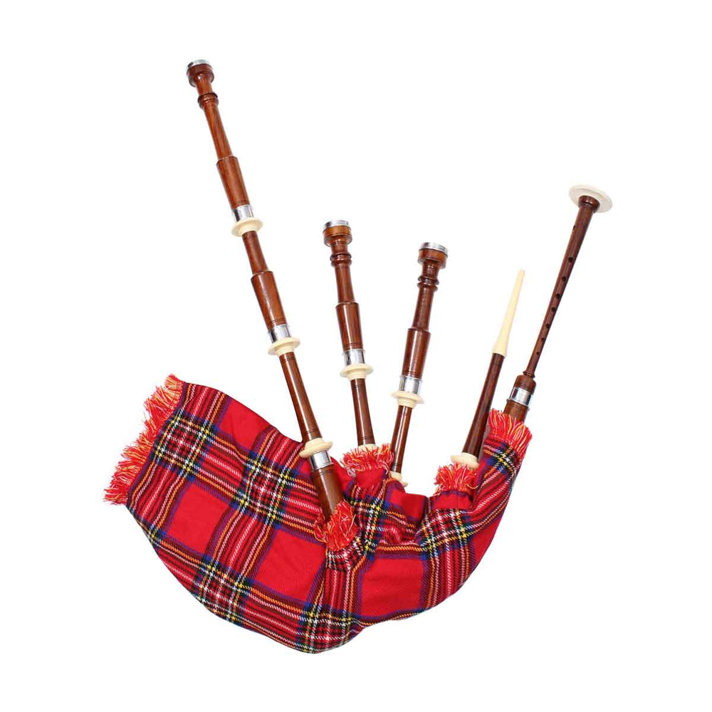 Rosewood Highland Bagpipe Natural Finish Plain Turned