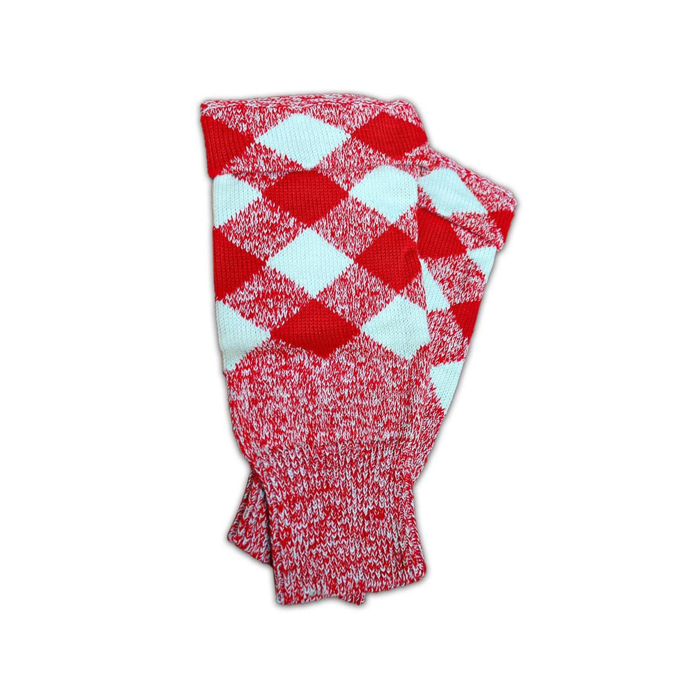 Acrylic Wool Scottish Hose Top Diced Red And White