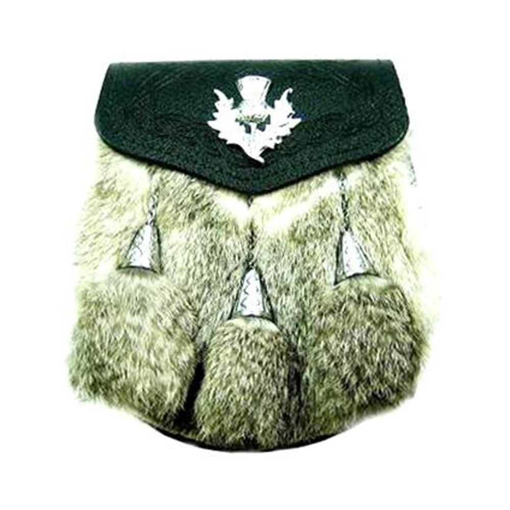Semi Dress Sporran Rabbit Fur Thistle Badge With Chain Belt