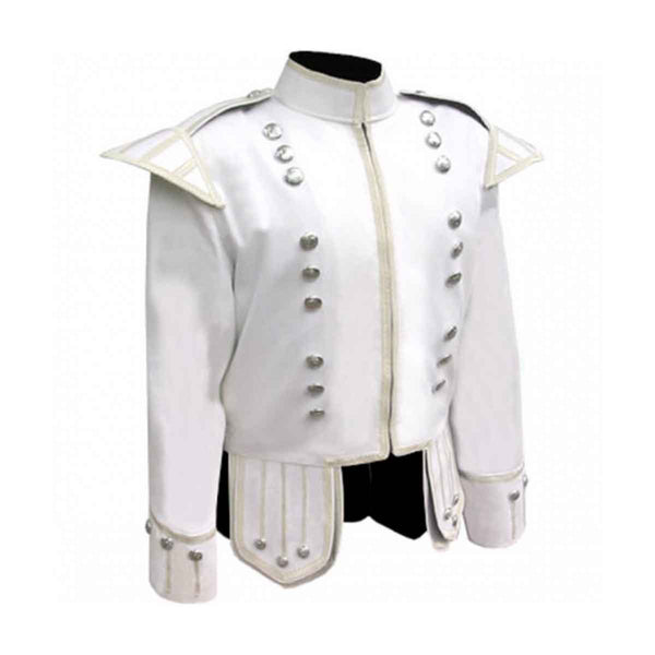 Summer Doublet White Cotton With Silver Braid And Trim - House Of Scotland