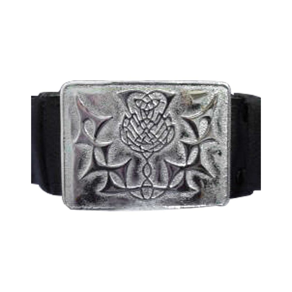 Velcro Adjustable Scottish Thistle Flower Kilt Waist Buckle With Belt
