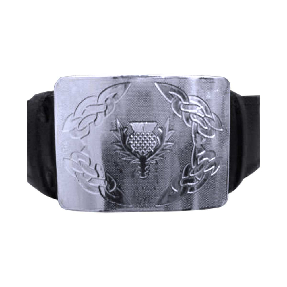 Velcro Adjustable Thistle Embossed Kilt Waist Buckle With Belt