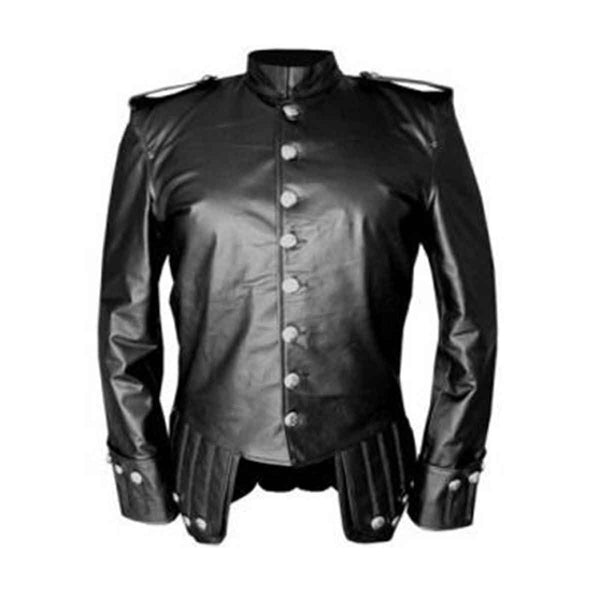 Winter Doublet black leather With Button Closure Front - House Of Scotland