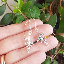 Load image into Gallery viewer, Sterling Silver Fern Drop Earrings