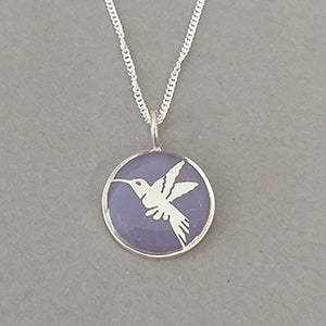 Hummingbird Sterling Silver Resin Pendant
