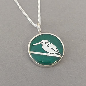 Kingfisher Sterling Silver Resin Pendant