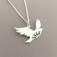 Load image into Gallery viewer, Lacy Birdie Sterling Silver Handmade Pendant