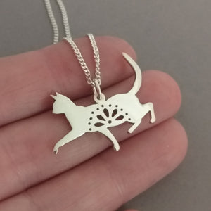 Lacy Kitty Sterling Silver Handmade Pendant