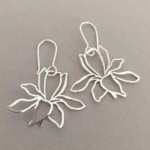 Load image into Gallery viewer, Hand cut & textured Floral dangly Sterling Silver Earrings