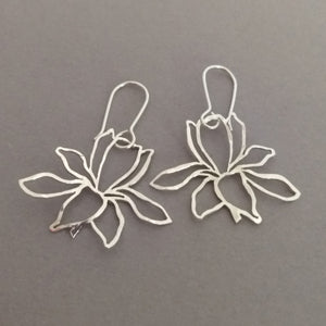 Hand cut & textured Floral dangly Sterling Silver Earrings