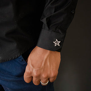 Men's Sterling Silver and Resin Star Cufflinks