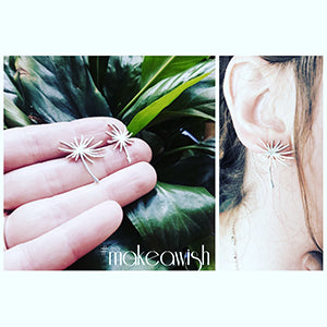 Dandelion Seed Drop Stud Earrings