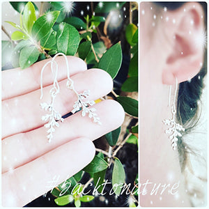 Sterling Silver Fern Drop Earrings