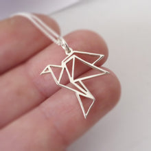 Load image into Gallery viewer, Origami Bird Pendant on chain