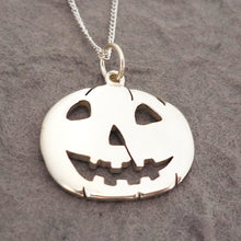 Load image into Gallery viewer, Sterling Silver Handmade Halloween Pumpkin Pendant