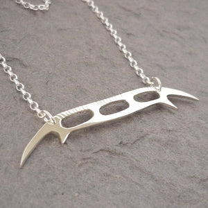 Sterling Silver Handmade Bat'leth Weapon Pendant