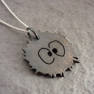 Tiny Sterling Silver Soot Sprite Heart Pendant