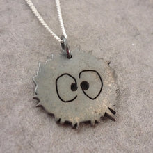 Load image into Gallery viewer, Tiny Sterling Silver Soot Sprite Heart Pendant