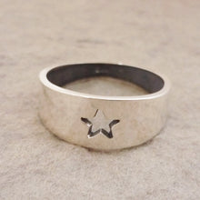 Load image into Gallery viewer, Sterling Silver handmade tapered Ring with Star cutout detail