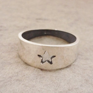 Sterling Silver handmade tapered Ring with Star cutout detail
