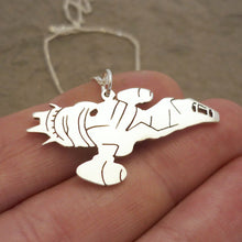Load image into Gallery viewer, Firefly class Spaceship pendant - sterling silver on chain