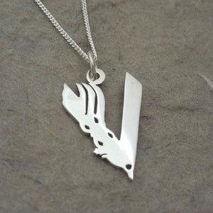V is for... Sterling Silver Handmade Pendant on Chain