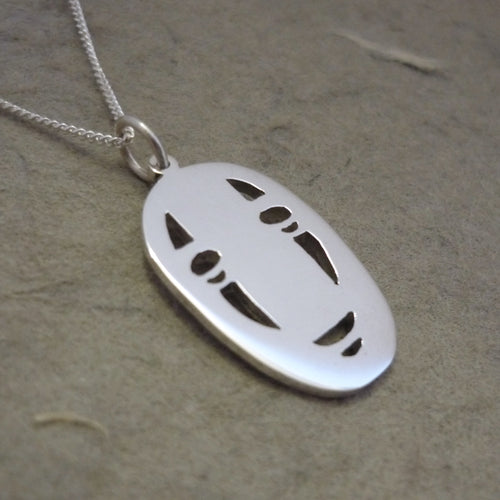No Face Sterling Silver Handmade Pendant on Chain